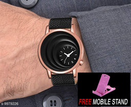 FREE 1 PCS MOBILE STAND WITH MT - 18 Black Dial with Rosegold Case Analogue MT Watch for Boy's and Men's  1 PCS