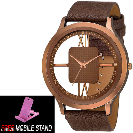 FREE 1 PCS MOBILE STAND WITH BROWN OPEN DIAL :- Stylish Analog BROWN Open Dial Leather Strap Watch for Men and Boys :-  (Pcs :- 1)