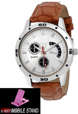 FREE 1 PCS MOBILE STAND WITH Aveo Stylish Simple  and Elegant Look Casual Wear Wrist Watches for Boys and Men :- (1 PCS)