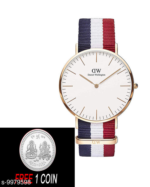 FREE 1 PCS SILVER COLOR COIN WITH DW England  :- M en & Women's Watch (White Dial White, Blue & Red Colored Strap)( 1 PCS )