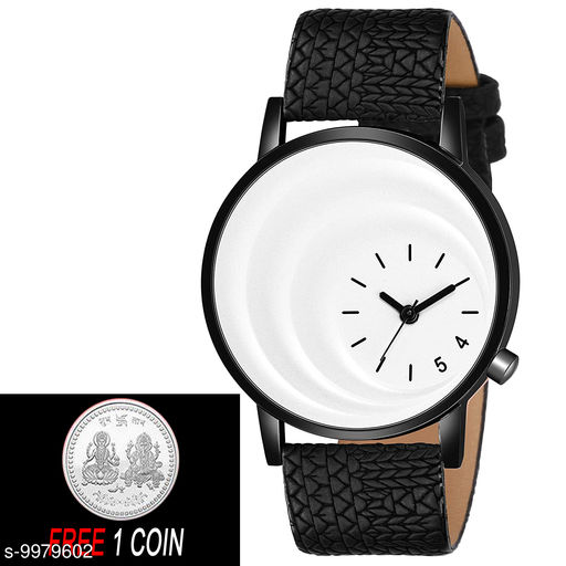 FREE 1 PCS SILVER COLOR COIN WITH MT - 20 White Di al with Black Case Analogue MT Watch for Boy's and Men's 1 PCS