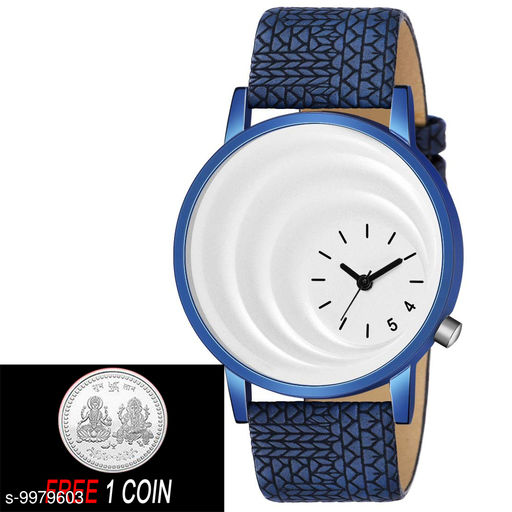 FREE 1 PCS SILVER COLOR COIN WITH MT -15 White Dial with Blue Case Analogue MT Watch for Boy's and Men's ( 1 PCS )