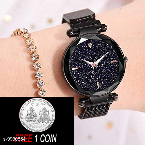 FREE 1 PCS SILVER COLOR COIN WITH MAGNET Black Dial, Diamond Hours  & Black Belt Analogue Girls Watch ( PCS :- 1)