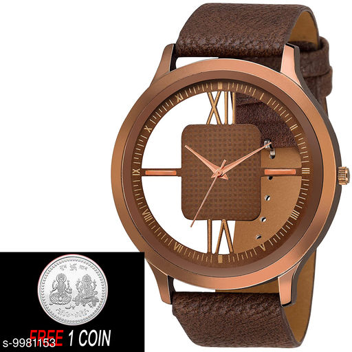FREE 1 PCS SILVER COLOR COIN WITH BROWN OPEN DIAL :- Stylish Analog BROWN Open Dial Leather Strap Watch for Men and Boys :-  (Pcs :- 1)