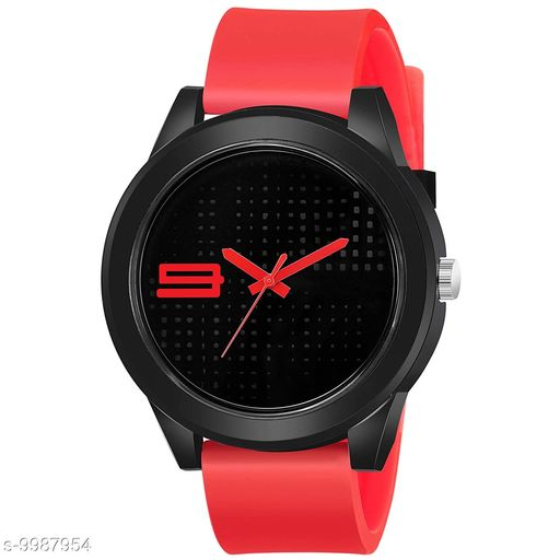 FREE 1 PCS SILVER COLOR COIN WITH Red Black Dial Red Rubber Belt and Black Case Analogue MT Watch for Men's and Boy's (1 PCS )