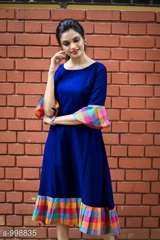 Women's Solid Navy Blue Dress