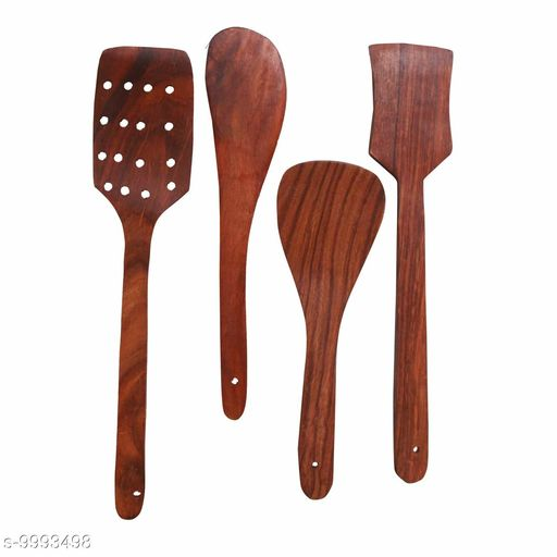 UTE Store - Multipurpose Wooden Cooking Spoon Utensils Set for Non Stick cookware and Serving - Handmade Wooden Spatula - Pack of 5