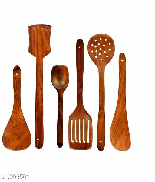 UTE Store - Multipurpose Wooden Cooking Spoon Utensils Set for Non Stick cookware and Serving - Handmade Wooden Spatula - Pack of 6