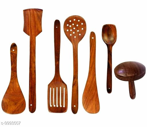 UTE Store - Multipurpose Wooden Cooking Spoon Utensils Set for Non Stick cookware and Serving - Handmade Wooden Spatula - Pack of 7